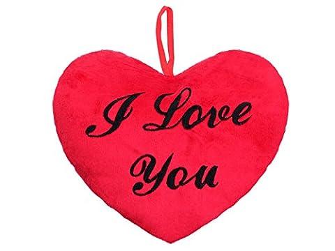 Red Plush Heart Shaped Cushion with Black Satin Ribbon Hanging