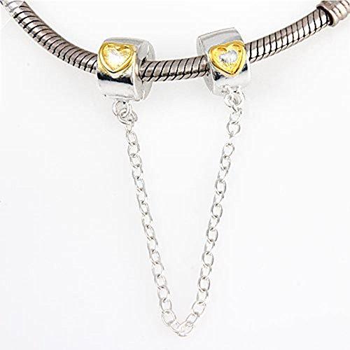 Sicurezza catena ciondolo charm argento Sterling 925clip stopper charm per braccialetti Pandora