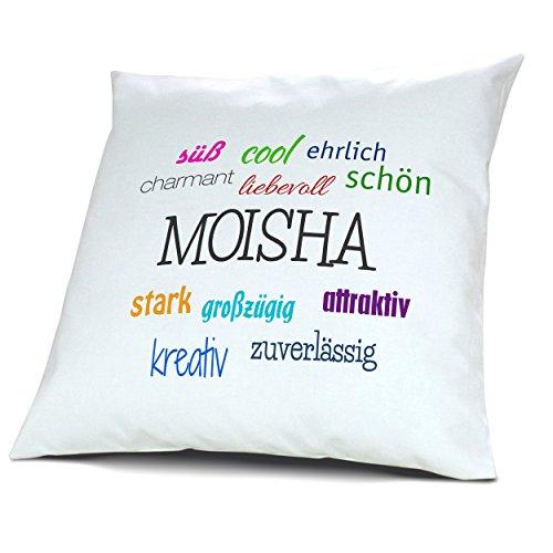 Kopfkissen mit Namen Moisha - Motiv Positive Eigenschaften, 40 cm, 100% Baumwolle, Kuschelkissen, Liebeskissen, Namenskissen, Geschenkidee, Deko