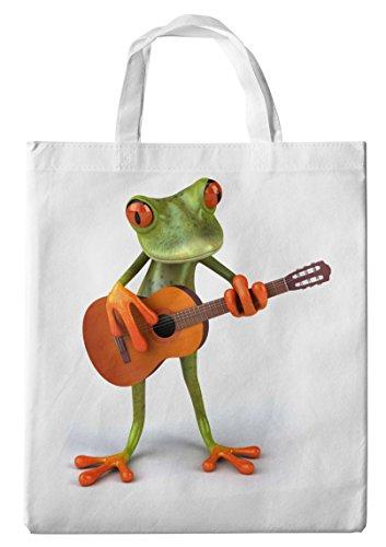 Merchandise for Fans Einkaufstasche- 38x42cm, 8 Liter - Motiv: 3D Comic Frosch spielt Gitarre - 17 (Ordner-fan)
