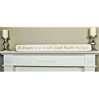 Large House Wooden Sign Plaque Kitchen Decor - A dream is a wish your heart makes - Handmade shabby chic wooden sign by vintage product designer Austin Sloan