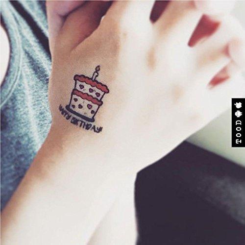 Geburtstagskuchen temporäre gefälschte Tätowierung Aufkleber abwaschbares Tattoo (Set von 2) - TOODTATTOO.COM