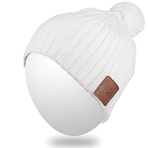 Qshell Unisex Adult Bluetooth Bonnet Trendy doux chaud court Audio Musique Cap avec casque sans fil casque micro haut-parleur mains-libres, Cadeau de Noël pour l'hiver Sport Outdoor Ski Snowboard -