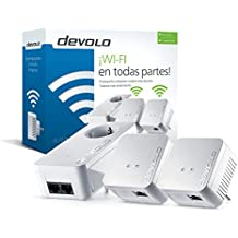 Devolo dLAN 550 WiFi Network Kit PLC - Adaptadores de red Powerline (500 Mbps, 3 x Powerline adaptadores, 1 x puerto LAN, enchufe WiFi, amplificador de señal WiFi, mejorar WiFi, WiFi Move), blanco