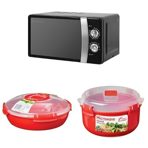 41bSxrAqH5L. SS500  - Russell Hobbs RHMM701B Manual Microwave and 2-Piece Sistema Microwave Cooking Set