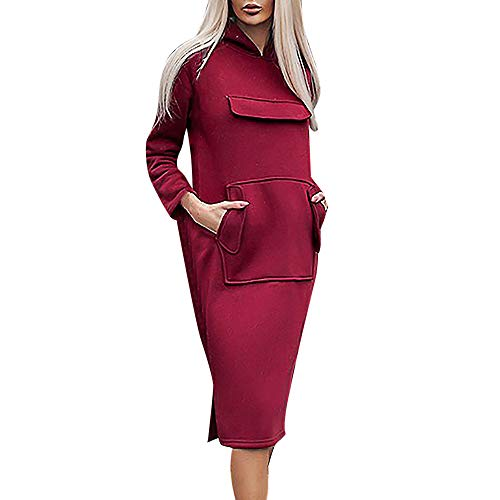 feiXIANG Mode Sweatshirt Kleid Frauen Casual Hoodie Tasche Langarm Partykleid (Wein,L)