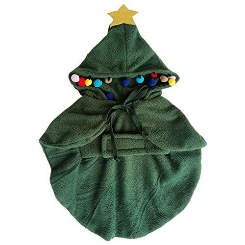 Santa Grün Kostüm - YOLSUN Weihnachtsbaum-Kostüm für Haustiere, Kleiner Hund/Katze, Weihnachtsbaum-Kostüm, Kapuze, Santa Tree M, grün