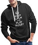 Keep Calm and Play Rugby Sweat-Shirt à Capuche Premium pour Hommes, XL, Noir