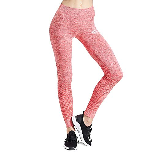 SMILODOX Sport Leggings Damen 'Meditation' | Seamless - Figurformende Tight für Sport Fitness Gym Yoga Training | Sporthose - Workout Trainingshose - Tights Laufhose, Farbe:Rot, Größe:XS