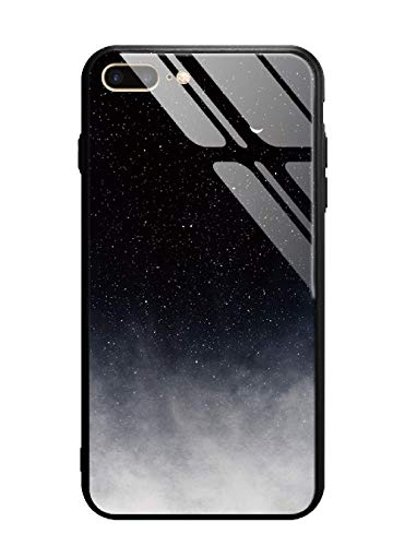 Cover iphone 7 plus/8 plus, custodia protettiva in vetro temperato 9h [antigraffii] + bordo e cornice in tpu [silicone morbido] [antiurti] stile galaxy universale. (universo)