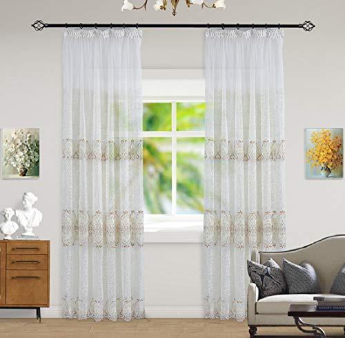 Aooword-home vorhänge/drapieren/Panels/Treat t Energy efficient Home Decor Voile Easy Care pastoralism Moderate Hooks für Schlafzimmer, Wohnzimmer, Gemustert, 1 Panels, 59x106inch Golden -