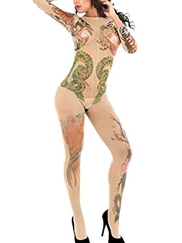 Women Bodystocking New Style Onesize Floral Tattoo Tights Fasicat Stockings