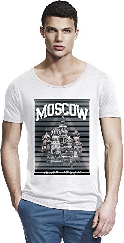 Moscow Red Square Bamboo Wide Neck T-shirt X-Large (Square Neck Red)