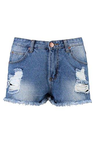 Damen Blau Mandy Mittelhohe, Ausgefranste Denim-hotpants Blau