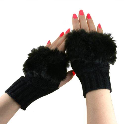 Damen Mädchen Winter Halb Handschuhe Gestrickte Fäustlinge Fingerlos Handgelenk Handwärmer