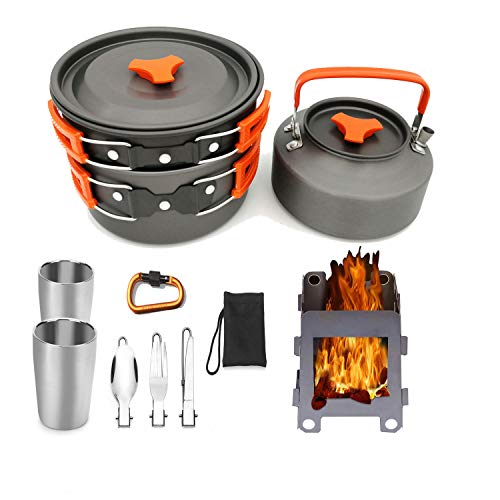 STOVESs Camping Kochgeschirr, Outdoor-Camping-Set Pot Teekanne Kombination, 2-3 Personen Set Pot mit Teekanne/Doppel-Cup/Geschirr, Holzofen für Outdoor-Wandern Picknick BBQ -