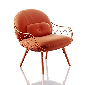 Magis Piña Armchair in Painted ash with Coral red Cushions