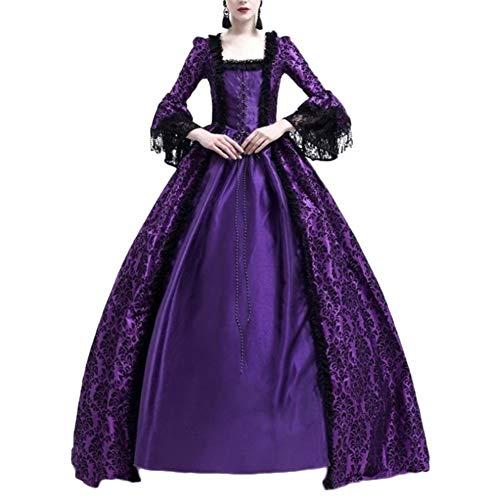 Damen Langarm Renaissance Mittelalter Kleid Viktorianischen Königin Kostüm Maxikleid Violett 3XL