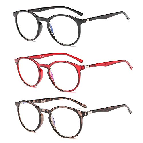 Suertree Anti Blue Lesebrille 3 Pack Computer Brille Herren Damen Anti Rays Lesebrillen für Frauen Männer Fashion Leser 1.5X JH252