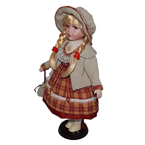 KESOTO Elegante Viktorianische Mädchen Porzellanpuppe Standpuppe aus Keramik - C - 16 Zoll