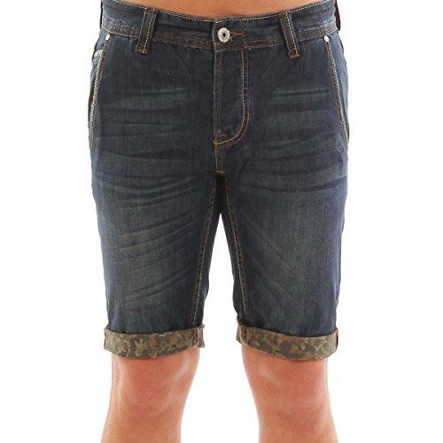 Bermuda in jeans denim con profili camouflage