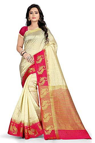 Priyanka Trends Women's Tussar Silk Zari Printed Work Saree With Blouse Piece (Cream_Free Size)