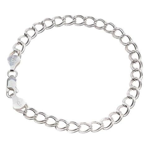 """En argent sterling italien creux """"Parallelo Chaîne Bracelet Charms 17,8cm avec fermoir mousqueton"""