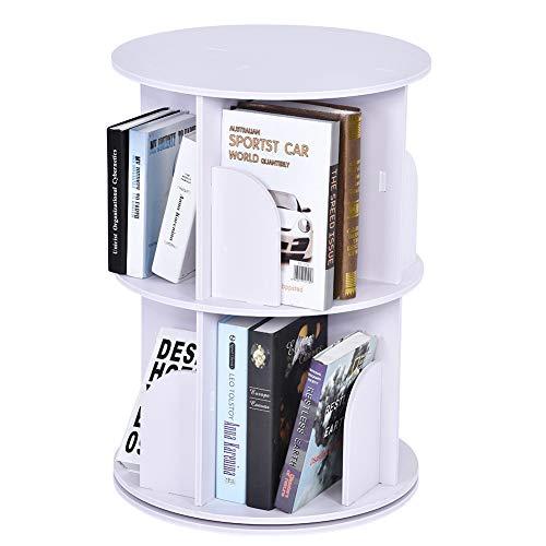 EBTOOLS Libreria Girevole Bookshelf,360 ° Rotating Bookshelf,Revolving Bookcase,Scaffale a Due Livelli in Legno per Soggiorno Balcone Studio Camera da Letto,Bianco,45.9 * 65cm