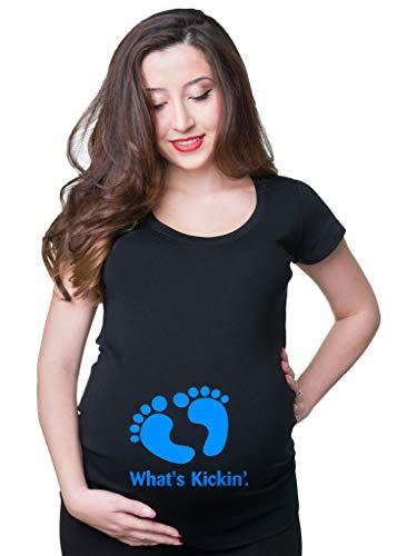 Milky Way Tshirts Frauen was Kickin Schwangerschafts-T-Shirt Schwangerschaft Jersey Medium Schwarz