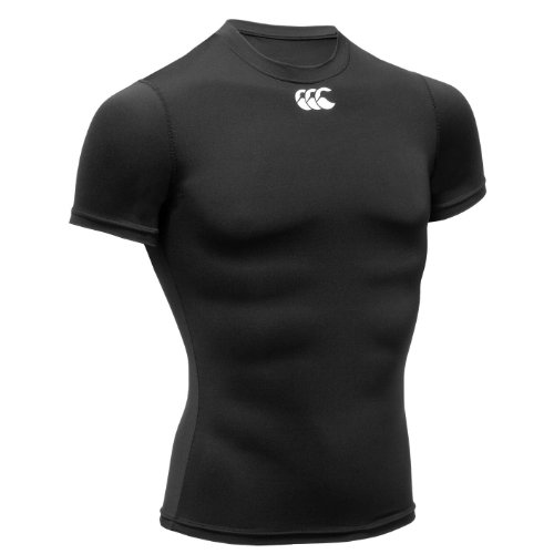 Canterbury of New Zealand Herren Short Sleeve Baselayer Hot (kühlend), black, L, E544115 (Sleeve Rugby Short)