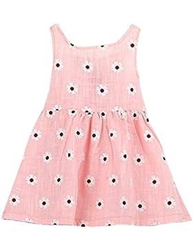 Amlaiworld Baby Girls ärmellose einteiliges Kleid Print Bowknot Tutu Kleid