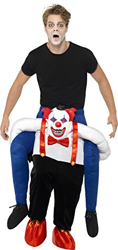 Smiffy's 45201 - Unisex Grusel Clown Huckepack Kostüm, Einteiler mit Beinen, One Size, blau (Huckepack Halloween Kostüm)