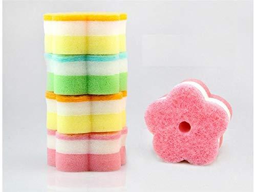 QWhing Professionel Zehn Stücke Küche Schwamm mehrzweck Starke Reinigung Runde Blume Waschen Pinsel (Gelegentliche Farbe) für die Küche