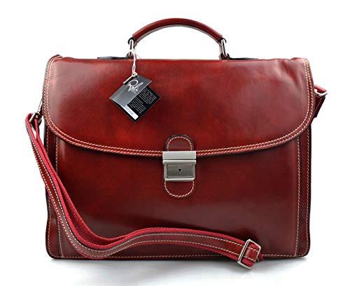 ff65dfdc76 Cartella pelle uomo donna borsa lavoro messenger borsa pelle valigetta 24  ore made in Italy vera pelle rosso