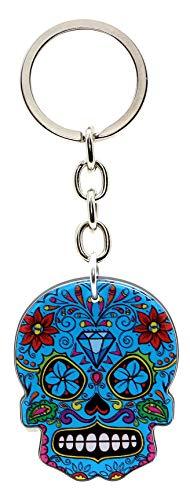 Bluebubble DIA DE LOS MUERTOS Schlüsselanhänger mit Totenkopf, in Geschenkbox, Electric Blue Skull - Diamond