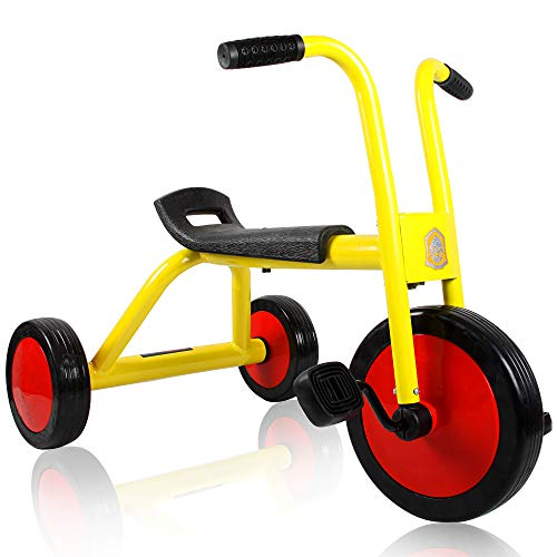 HAPTOO Toddler Trike Ride On Toys for Toddlers Kids Aged 1-5 Years, 10 Colors Walking Bikes with Adjustable Handlebar & Seat, No Pedal Bike for Girls & Boys (Tricycle-Yellow)