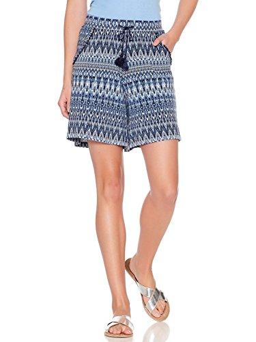 M&Co Ladies High Elasticated Waist Drawstring Tie Pom Pom Trim Ikat Chevron Print Jersey Shorts