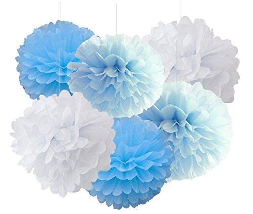 Hanging Carta Velina Pompon fiori di carta 12pcs 10pollici 8pollici rosa Haning decorazione palle compleanno Baby doccia matrimonio decorazioni FESTE, White Blue Turquoise, Grande