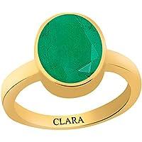 Clara Certified Emerald Panna 6.5 Carat or 7.25ratti Panchdhatu Gold Plating Astrological Ring for Men & Women