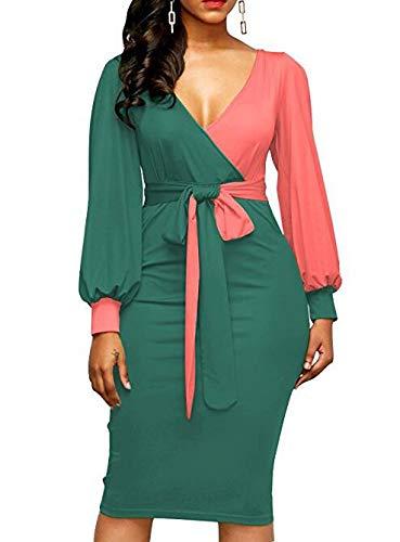 Swallowuk Kleider Damen V Ausschnitt Business Kleid Partykleid Lange Ärmel Pencil Dress Patchwork...
