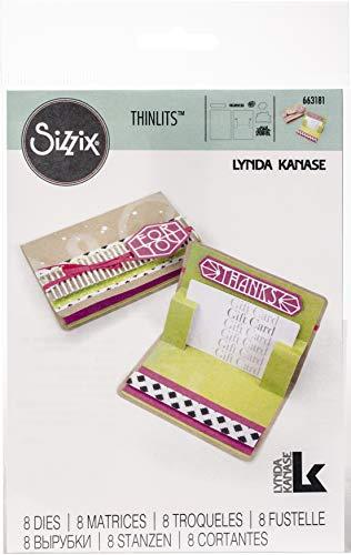 Sizzix 663181 Thinlits Stanzformen Set, Geschenkkarten-Halter Pop-Up by Lynda Kanase (8er Pack), mehrfarbig