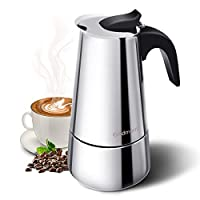 Godmorn Espresso Maker, Stovetop Espresso Maker, Coffee Maker, Moka Pot: Classic Cafe Maker made of 430 stainless steel for 6 cups (300 ml), suitable for induction cookers (espresso cooker)