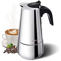 Espressokocher, Kaffeekocher, Godmorn Stovetop Espresso Maker, Moka Pot: Klassischer Cafe Maker aus 430 Edelstahl, für 6 Tassen(300 ml), für Induktions-Herde geeignet (Espresso-Kocher)