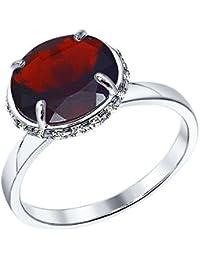 MIRKADA Damen 925 Silber Ring mit Granat und Zirkonia, rot, Gr. 58