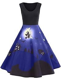 Fancylande Disfraz Vestido Halloween, Retro Halloween Modelo Impresión Grande Vestido sin Mango, Azul,