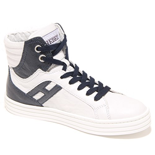 3771I sneakers bimbo blu HOGAN REBEL r 141 polacco scarpe shoes kids Bianco/Blu