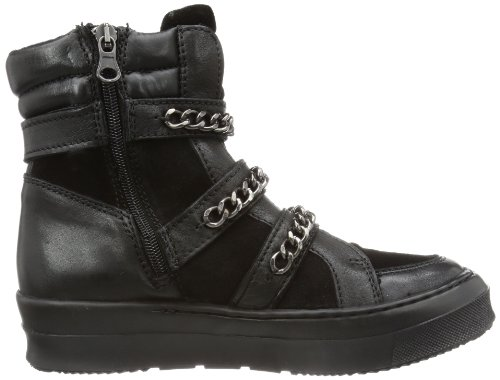 Bronx BX 572 43897-DE Damen Biker Boots Schwarz (black/ dark silver 806)
