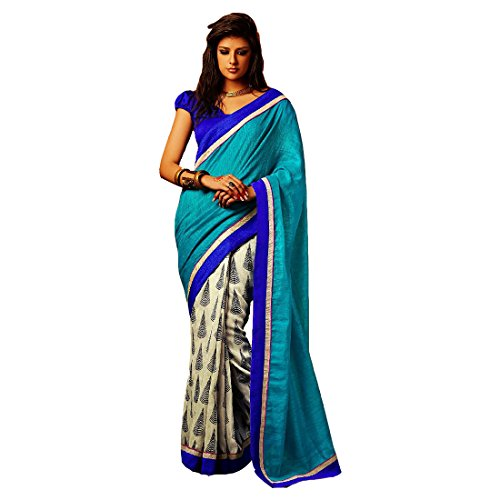Sky Blue and Off White Bhagalpuri printed saree  available at amazon for Rs.349