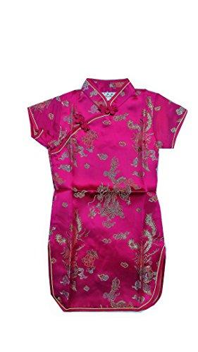 he Kleid Mädchen Cheongsam Qi Pao Dragon & Phoenix pattern-dark Pink Gr. 40, dark pink w/dragon & phoenix pattern (Phoenix Kostüm Kind)