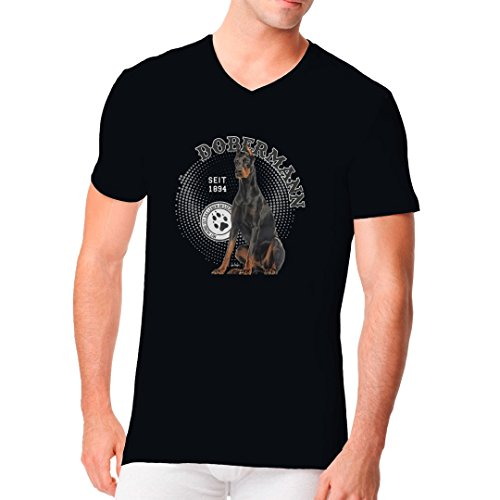 Im-Shirt - Hunde Motiv: Dobermann Foto Spots cooles Fun Men V-Neck - verschiedene Farben Schwarz